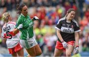 24 September 2017; Aisling Woods of Fermanagh after scoring her side's second goal past Derry goalkeeper Cheree Mackey during the TG4 Ladies Football All-Ireland Junior Championship Final match between Derry and Fermanagh at Croke Park in Dublin. Photo by Cody Glenn/Sportsfile