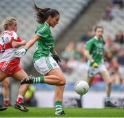 24 September 2017; Aisling Woods of Fermanagh shoots to score her side's second goal during the TG4 Ladies Football All-Ireland Junior Championship Final match between Derry and Fermanagh at Croke Park in Dublin. Photo by Cody Glenn/Sportsfile