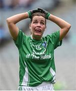 24 September 2017; Nuala McManus of Fermanagh reacts in the final minutes of the match during the TG4 Ladies Football All-Ireland Junior Championship Final match between Derry and Fermanagh at Croke Park in Dublin. Photo by Cody Glenn/Sportsfile