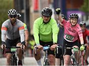 24 September 2017; Cllr. Janice Boylan was on hand in Smithfield, to officially start the biggest cycling event of its kind to take place in Dublin. The Great Dublin Bike Ride is an initiative from Sport Ireland who work in conjunction with Dublin City Council, Healthy Ireland, Fingal County Council and Cycling Ireland. The Great Dublin Bike Ride was a flagship event in Ireland for the European Week of Sport (23 - 30 September) and encourages everyone to #BeActive. The Gardaí, Luas, Dublin Bus and Civil Defence worked hard with the various city and county councils to ensure the safety and enjoyment of participants on the day. Pictured are riders as they finish The Great Dublin Bike Ride 2017, Smithfield Square, Dublin. Photo by Seb Daly/Sportsfile