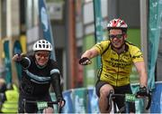 24 September 2017; Cllr. Janice Boylan was on hand in Smithfield, to officially start the biggest cycling event of its kind to take place in Dublin. The Great Dublin Bike Ride is an initiative from Sport Ireland who work in conjunction with Dublin City Council, Healthy Ireland, Fingal County Council and Cycling Ireland.The Great Dublin Bike Ride was a flagship event in Ireland for the European Week of Sport (23 - 30 September) and encourages everyone to #BeActive. The Gardaí, Luas, Dublin Bus and Civil Defence worked hard with the various city and county councils to ensure the safety and enjoyment of participants on the day. Pictured are participants as they finish The Great Dublin Bike Ride 2017, Smithfield Square, Dublin. Photo by Seb Daly/Sportsfile