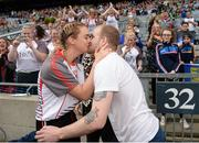24 September 2017; Derry's Ciara McGurk kisses her boyfriend Ryan McCloskey after he proposes to her following the TG4 Ladies Football All-Ireland Junior Championship Final match between Derry and Fermanagh at Croke Park in Dublin. Photo by Cody Glenn/Sportsfile