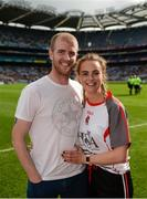 24 September 2017; Derry's Ciara McGurk and her boyfriend Ryan McCloskey after he proposed to her following the TG4 Ladies Football All-Ireland Junior Championship Final match between Derry and Fermanagh at Croke Park in Dublin. Photo by Cody Glenn/Sportsfile