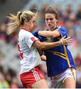 24 September 2017; Maria Curley of Tipperary in action against Gemma Begley of Tyrone during the TG4 Ladies Football All-Ireland Intermediate Championship Final match between Tipperary and Tyrone at Croke Park in Dublin. Photo by Cody Glenn/Sportsfile