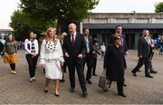 24 September 2017; Australian Governor General Sir Peter Cosgrove and his wife Lynne, right, in the company of Helen O'Rourke, CEO, LGFA, left, arrive ahead of the TG4 Ladies Football All-Ireland Senior Championship Final match between Dublin and Mayo at Croke Park in Dublin. Photo by Stephen McCarthy/Sportsfile