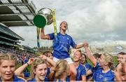 24 September 2017; Samantha Lambert of Tipperary celebrates with the cup following the TG4 Ladies Football All-Ireland Intermediate Championship Final match between Tipperary and Tyrone at Croke Park in Dublin. Photo by Cody Glenn/Sportsfile