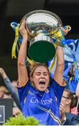 24 September 2017; Samantha Lambert of Tipperary lifts the cup following the TG4 Ladies Football All-Ireland Intermediate Championship Final match between Tipperary and Tyrone at Croke Park in Dublin. Photo by Cody Glenn/Sportsfile