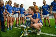 24 September 2017; Gillian O'Brien of Tipperary with her son Harry in the cup following the TG4 Ladies Football All-Ireland Intermediate Championship Final match between Tipperary and Tyrone at Croke Park in Dublin. Photo by Cody Glenn/Sportsfile