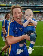 24 September 2017; Gillian O'Brien of Tipperary with her son Harry following the TG4 Ladies Football All-Ireland Intermediate Championship Final match between Tipperary and Tyrone at Croke Park in Dublin. Photo by Cody Glenn/Sportsfile