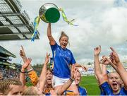 24 September 2017; Samantha Lambert of Tipperary is lifted shoulder high by team-mates with the cup following the TG4 Ladies Football All-Ireland Intermediate Championship Final match between Tipperary and Tyrone at Croke Park in Dublin. Photo by Cody Glenn/Sportsfile