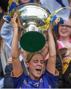 24 September 2017; Tipperary captain Samantha Lambert lifts the cup after the TG4 Ladies Football All-Ireland Intermediate Championship Final match between Tipperary and Tyrone at Croke Park in Dublin. Photo by Brendan Moran/Sportsfile