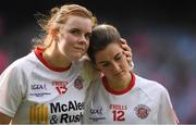 24 September 2017; A dejected Niamh O'Neill, left, and Áine Canavan of Tyrone after the TG4 Ladies Football All-Ireland Intermediate Championship Final match between Tipperary and Tyrone at Croke Park in Dublin. Photo by Brendan Moran/Sportsfile