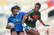 24 September 2017; Noelle Healy of Dublin in action against Orla Conlon of Mayo during the TG4 Ladies Football All-Ireland Senior Championship Final match between Dublin and Mayo at Croke Park in Dublin. Photo by Cody Glenn/Sportsfile