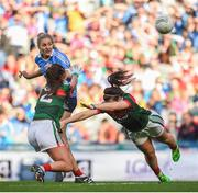 24 September 2017; Nicole Owens of Dublin in action against Orla Conlon, left, and Rachel Kearns of Mayo during the TG4 Ladies Football All-Ireland Senior Championship Final match between Dublin and Mayo at Croke Park in Dublin. Photo by Cody Glenn/Sportsfile