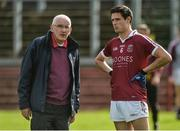 24 September 2017; Slaughtneil manager Mickey Moran and Christopher McKaigue of Slaughtneil before the Derry County Senior Football Championship Final match between Slaughtneil and Ballinascreen at Celtic Park in Derry. Photo by Oliver McVeigh/Sportsfile