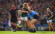 24 September 2017; Sarah Rowe of Mayo in action against Lauren Magee of Dublin during the TG4 Ladies Football All-Ireland Senior Championship Final match between Dublin and Mayo at Croke Park in Dublin. Photo by Brendan Moran/Sportsfile