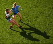 24 September 2017; Grace Kelly of Mayo in action against Rachel Ruddy of Dublin during the TG4 Ladies Football All-Ireland Senior Championship Final match between Dublin and Mayo at Croke Park in Dublin. Photo by Stephen McCarthy/Sportsfile