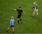 24 September 2017; Cora Staunton of Mayo appeals to referee Seamus Mulvihill during the TG4 Ladies Football All-Ireland Senior Championship Final match between Dublin and Mayo at Croke Park in Dublin. Photo by Stephen McCarthy/Sportsfile