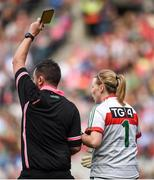 24 September 2017; Mayo goalkeeper Yvonne Byrne is shown a yellow card by referee Seamus Mulvihill during the TG4 Ladies Football All-Ireland Senior Championship Final match between Dublin and Mayo at Croke Park in Dublin. Photo by Cody Glenn/Sportsfile