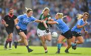 24 September 2017; Cora Staunton of Mayo in action against Deirdre Murphy, left, and Martha Byrne of Dublin during the TG4 Ladies Football All-Ireland Senior Championship Final match between Dublin and Mayo at Croke Park in Dublin. Photo by Brendan Moran/Sportsfile