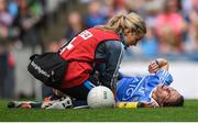 24 September 2017; Sinéad Aherne of Dublin lies injured after a collision with Mayo goalkeeper Yvonne Byrne during the TG4 Ladies Football All-Ireland Senior Championship Final match between Dublin and Mayo at Croke Park in Dublin. Photo by Cody Glenn/Sportsfile