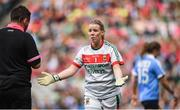 24 September 2017; Yvonne Byrne of Mayo appeals to referee Seamus Mulvihill resulting in a yellow card during the TG4 Ladies Football All-Ireland Senior Championship Final match between Dublin and Mayo at Croke Park in Dublin. Photo by Cody Glenn/Sportsfile