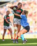 24 September 2017; Sarah Rowe of Mayo in action against Martha Byrne of Dublin during the TG4 Ladies Football All-Ireland Senior Championship Final match between Dublin and Mayo at Croke Park in Dublin. Photo by Cody Glenn/Sportsfile