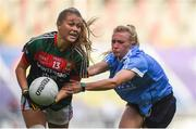 24 September 2017; Sarah Rowe of Mayo in action against Carla Rowe of Dublin during the TG4 Ladies Football All-Ireland Senior Championship Final match between Dublin and Mayo at Croke Park in Dublin. Photo by Cody Glenn/Sportsfile