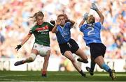 24 September 2017; Sarah Rowe of Mayo has her shot blocked by Lauren Magee and Martha Byrne of Dublin during the TG4 Ladies Football All-Ireland Senior Championship Final match between Dublin and Mayo at Croke Park in Dublin. Photo by Cody Glenn/Sportsfile