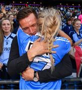 24 September 2017; Dublin footballer Paul Flynn congratulates his fiancée Fiona Hudson after the TG4 Ladies Football All-Ireland Senior Championship Final match between Dublin and Mayo at Croke Park in Dublin. Photo by Brendan Moran/Sportsfile