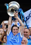 24 September 2017; Dublin captain Sinéad Aherne lifts the Brendan Martin Cup after the TG4 Ladies Football All-Ireland Senior Championship Final match between Dublin and Mayo at Croke Park in Dublin. Photo by Brendan Moran/Sportsfile