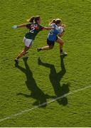 24 September 2017; Noelle Healy of Dublin in action against Orla Conlon of Mayo during the TG4 Ladies Football All-Ireland Senior Championship Final match between Dublin and Mayo at Croke Park in Dublin. Photo by Stephen McCarthy/Sportsfile