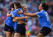 24 September 2017; Dublin players, from left, Sinéad Goldrick, Sinéad Aherne, Nicole Owens and Niamh McEvoy celebrate at the final whistle of the TG4 Ladies Football All-Ireland Senior Championship Final match between Dublin and Mayo at Croke Park in Dublin. Photo by Brendan Moran/Sportsfile