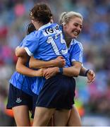 24 September 2017; Dublin players Sinéad Aherne and Nicole Owens celebrate at the final whistle of the TG4 Ladies Football All-Ireland Senior Championship Final match between Dublin and Mayo at Croke Park in Dublin. Photo by Brendan Moran/Sportsfile