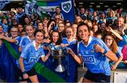 24 September 2017; Dublin captain Sinéad Aherne, left, and Niamh McEvoy celebrate with the Brendan Martin Cup after the TG4 Ladies Football All-Ireland Senior Championship Final match between Dublin and Mayo at Croke Park in Dublin. Photo by Brendan Moran/Sportsfile