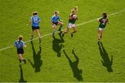 24 September 2017; Niamh Kelly and Orla Conlon, 2, of Mayo in action against Dublin players, from left, Lauren Magee, Noelle Healy and Martha Byrne during the TG4 Ladies Football All-Ireland Senior Championship Final match between Dublin and Mayo at Croke Park in Dublin. Photo by Stephen McCarthy/Sportsfile