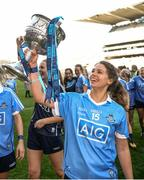 24 September 2017; Noelle Healy of Dublin celebrates with the trophy following the TG4 Ladies Football All-Ireland Senior Championship Final match between Dublin and Mayo at Croke Park in Dublin. Photo by Cody Glenn/Sportsfile