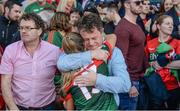 24 September 2017; Sarah Rowe of Mayo is consoled by her father Alan Rowe following the TG4 Ladies Football All-Ireland Senior Championship Final match between Dublin and Mayo at Croke Park in Dublin. Photo by Cody Glenn/Sportsfile