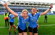 24 September 2017; Sinéad Finnegan, left, and Sinéad Goldrick of Dublin celebrate after the TG4 Ladies Football All-Ireland Senior Championship Final match between Dublin and Mayo at Croke Park in Dublin. Photo by Brendan Moran/Sportsfile