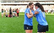 24 September 2017; Dublin players Noelle Healy, left, and Lyndsey Davey celebrate after the TG4 Ladies Football All-Ireland Senior Championship Final match between Dublin and Mayo at Croke Park in Dublin. Photo by Brendan Moran/Sportsfile