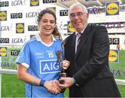 24 September 2017; Noelle Healy of Dublin is presented with the TG4 Player of the Match by Pádhraic Ó Ciardha, TG4, after the TG4 Ladies Football All-Ireland Senior Championship Final match between Dublin and Mayo at Croke Park in Dublin. Photo by Brendan Moran/Sportsfile