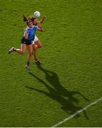 24 September 2017; Niamh McEvoy of Dublin in action against Niamh Kelly of Mayo during the TG4 Ladies Football All-Ireland Senior Championship Final match between Dublin and Mayo at Croke Park in Dublin. Photo by Stephen McCarthy/Sportsfile