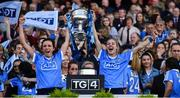 24 September 2017; Dublin players Niamh McEvoy, left, and Nicole Owens celebrate with the Brendan Martin Cup after the TG4 Ladies Football All-Ireland Senior Championship Final match between Dublin and Mayo at Croke Park in Dublin. Photo by Brendan Moran/Sportsfile
