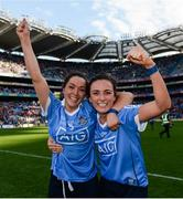 24 September 2017; Sinéad Goldrick, left, and Niamh McEvoy of Dublin celebrate following the TG4 Ladies Football All-Ireland Senior Championship Final match between Dublin and Mayo at Croke Park in Dublin. Photo by Cody Glenn/Sportsfile