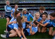 24 September 2017; Noelle Healy of Dublin is mobbed by team-mates at the final whistle following the TG4 Ladies Football All-Ireland Senior Championship Final match between Dublin and Mayo at Croke Park in Dublin. Photo by Cody Glenn/Sportsfile