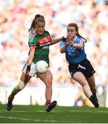 24 September 2017; Sarah Rowe of Mayo in action against Lauren Magee of Dublin during the TG4 Ladies Football All-Ireland Senior Championship Final match between Dublin and Mayo at Croke Park in Dublin. Photo by Cody Glenn/Sportsfile
