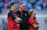 24 September 2017; Mayo manager Frank Browne, centre, and members of his backroom staff following the TG4 Ladies Football All-Ireland Senior Championship Final match between Dublin and Mayo at Croke Park in Dublin. Photo by Cody Glenn/Sportsfile