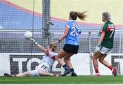 24 September 2017; Sarah McCaffrey of Dublin scores her side's fourth goal past Mayo goalkeeper Yvonne Byrne during the TG4 Ladies Football All-Ireland Senior Championship Final match between Dublin and Mayo at Croke Park in Dublin. Photo by Cody Glenn/Sportsfile