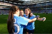 24 September 2017; Sinéad Goldrick of Dublin, right, celebrates with team-mate Hannah O'Neill following the TG4 Ladies Football All-Ireland Senior Championship Final match between Dublin and Mayo at Croke Park in Dublin. Photo by Cody Glenn/Sportsfile