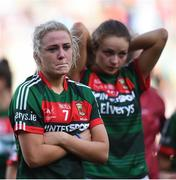 24 September 2017; Fiona Doherty and Ciara Whyte of Mayo following the TG4 Ladies Football All-Ireland Senior Championship Final match between Dublin and Mayo at Croke Park in Dublin. Photo by Cody Glenn/Sportsfile